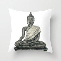 buddah Throw Pillows featuring Buddah by Hollie B