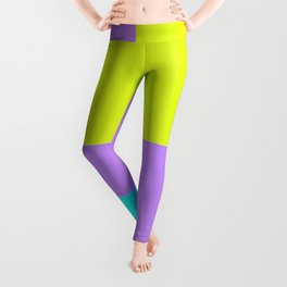 Purple yellow and blue abstract art Leggings