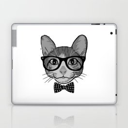 Cat Hipster With Polka Dots Bow Tie - Black White Laptop & iPad Skin
