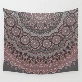 Mandala Spirit, Rose Pink, Gray Wall Tapestry