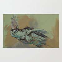 sea turtle Area & Throw Rugs featuring Sea Turtle by Michael Creese