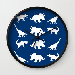 Blue and White Dinosaurs Wall Clock
