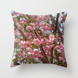 Cherry blossom spring Throw Pillow