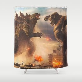 Godzilla vs King Kong Moster Fight Movies Art Print Decor Home Poster Full Size Shower Curtain