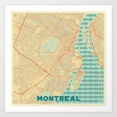 Montreal Map Retro Art Print