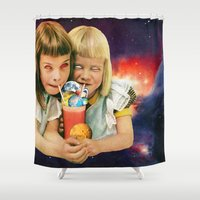 cocktail Shower Curtains featuring Exoplanet Cocktail by Eugenia Loli