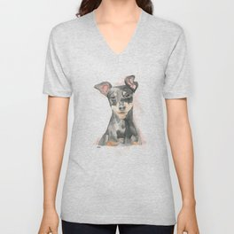 lovely pinscher pincher Unisex V-Neck
