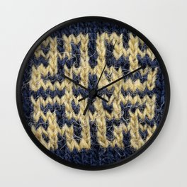 Knitted pattern design - black and gold Wall Clock