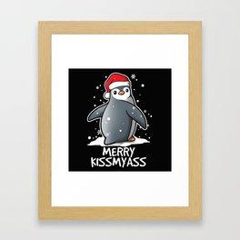 Kawaii Penguin Merry Kissmyass Christmas Framed Art Print