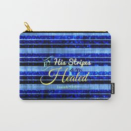 BY HIS STRIPES Colorful Blue Stripes Bible Scripture Fine Art Pattern Typography God Jesus Faith Carry-All Pouch