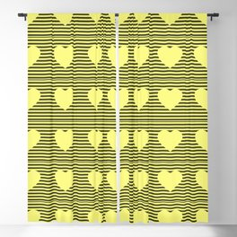 Hearts and stripes pattern yellow and dark olive  Blackout Curtain