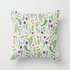 Ferns and Flowers Throw Pillow