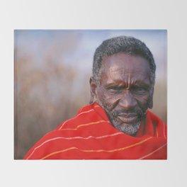 African Maasai Elder Throw Blanket
