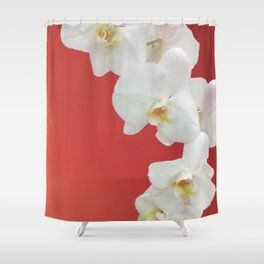 Watermelon Orchid Shower Curtain