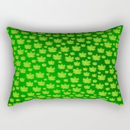 green metal shiny maple leaf on shimmering texture Rectangular Pillow