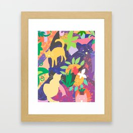 Cats and Plants with Abstract Background Framed Art Print