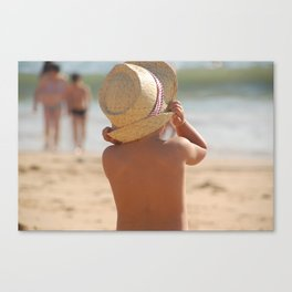 kid with hat color Canvas Print