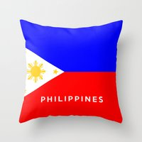 philippines Throw Pillows featuring flag of Philippines by tony tudor