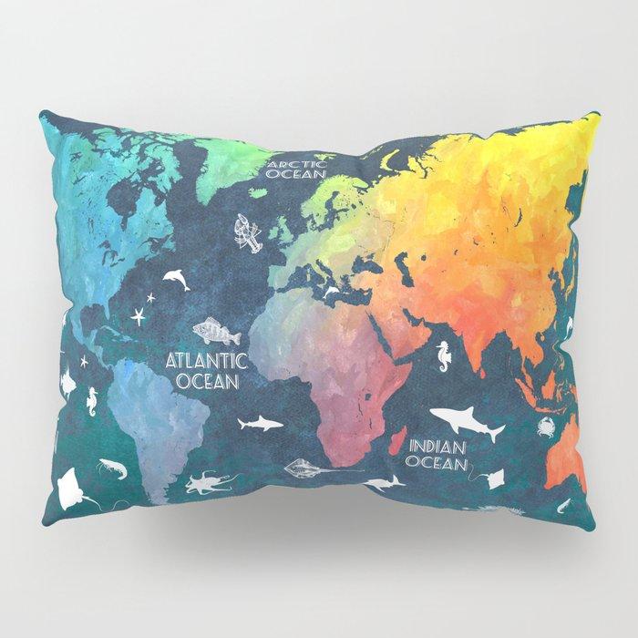 Ocean World Map color #map #worldmap Pillow Sham