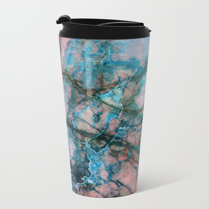 Pink and Blue Marble Travel Mug