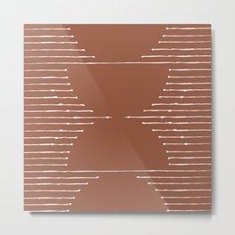Geometric Lines / Terracotta 2 Metal Print
