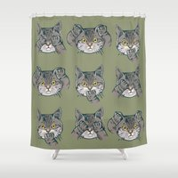 evil Shower Curtains featuring No Evil Cat by Huebucket