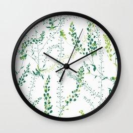 Green floral print. Duvet Cover Wall Clock