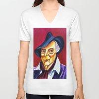 quentin tarantino V-neck T-shirts featuring QUENTIN CRISP by Matthew Z Kessler