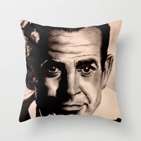 james bond Throw Pillows featuring Sean Connery as James Bond by Caroline Ward
