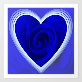 Rose in Heart,blue Art Print
