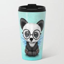 Cute Panda Cub with Fairy Wings and Glasses Blue Travel Mug