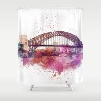 sydney Shower Curtains featuring Sydney Harbor Bridge by LebensART