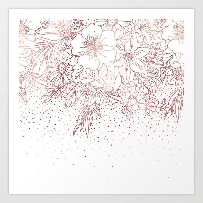 Rose Gold Hand Drawn Floral Doodles And Confetti Design Art Print