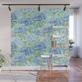 Blue floral hydrangea flower flowers Vintage watercolor pattern Wall Mural