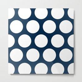 Large Polka Dots: Navy Blue Metal Print