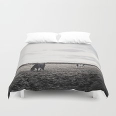 Horses in a Field in Black and White Duvet Cover