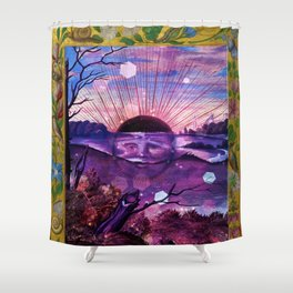 Black Sun Alchemy, Antique Alchemy Illustration Collage Shower Curtain
