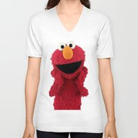 duvet cover V-neck T-shirts featuring ELMO DUVET COVER by aztosaha