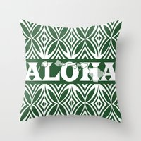 aloha Throw Pillows featuring ALOHA by Lonica Photography & Poly Designs