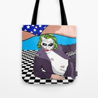 super heroes Tote Bags featuring super heroes by mark ashkenazi