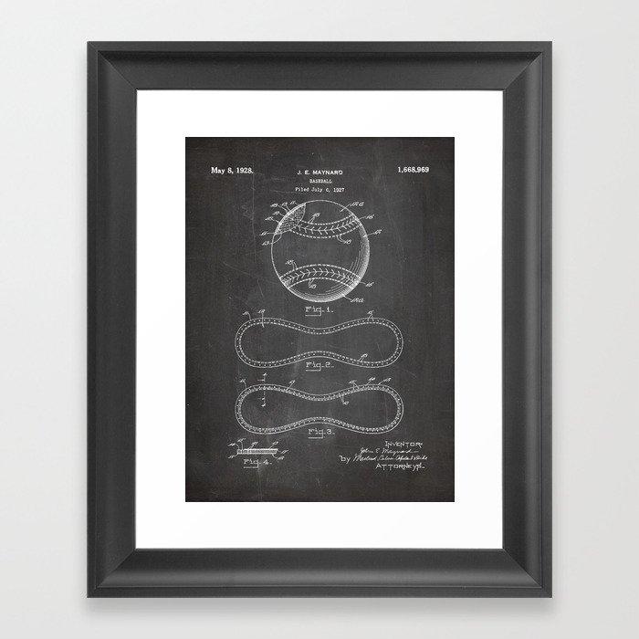 Baseball Patent - Softball Art - Black Chalkboard Gerahmter Kunstdruck