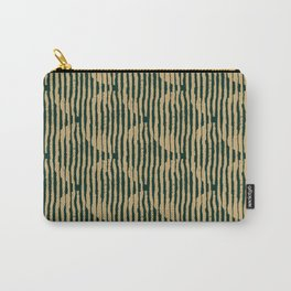 Zen Circles Block Print In Green and Gold Carry-All Pouch