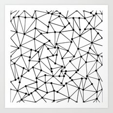 Ab Out Lines With Spots White Art Print