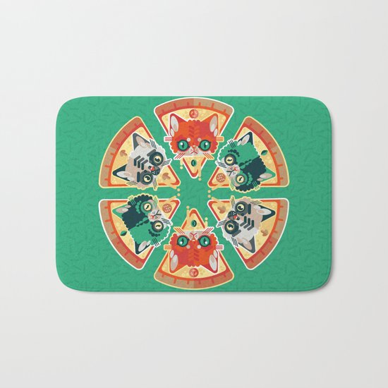 Pizza Slice Cats  Bath Mat