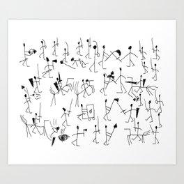 Stick knights (black) Art Print