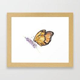 Monarch Butterfly Watercolor Art, Orange Butterfly Painting, Purple Flower Framed Art Print