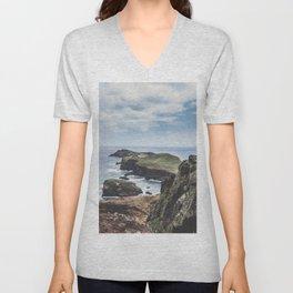 Rocky island and the ocean / Madeira summer travel fine art print Unisex V-Neck