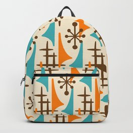 Retro Mid Century Modern Atomic Wing Pattern 422 Brown Orange and Turquoise Backpack