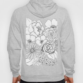 Flower Bouquet Black and White Illustration Hoody