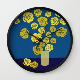 Yellow roses in vase on classic blue Wall Clock